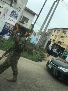 A soldier acting unlawfully